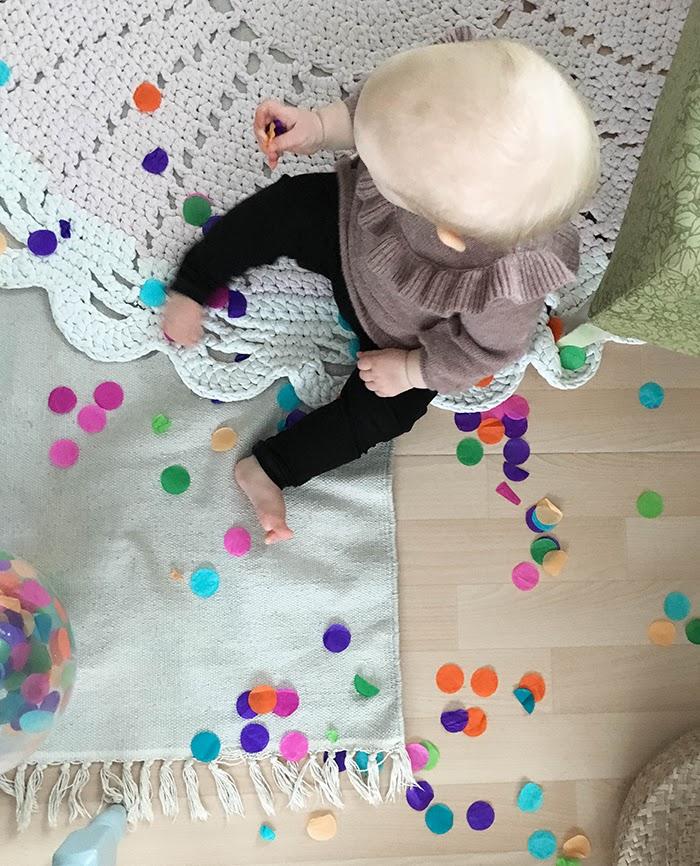 Confettipallo, vappu, kirkkaat värit, Annan tirpat