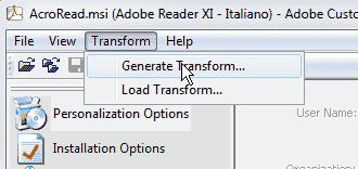 Adobe Customization Wizard XI - Transform file