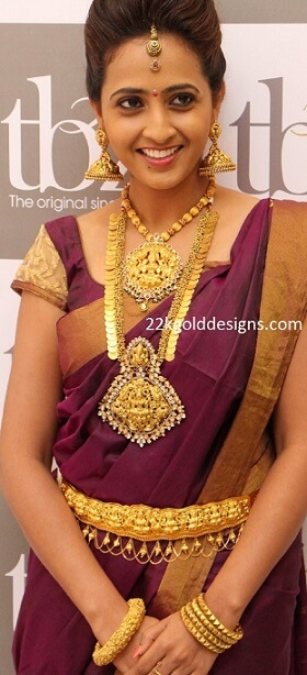 Anchor Lasya in TBZ Heavy Temple Gold Jewellery