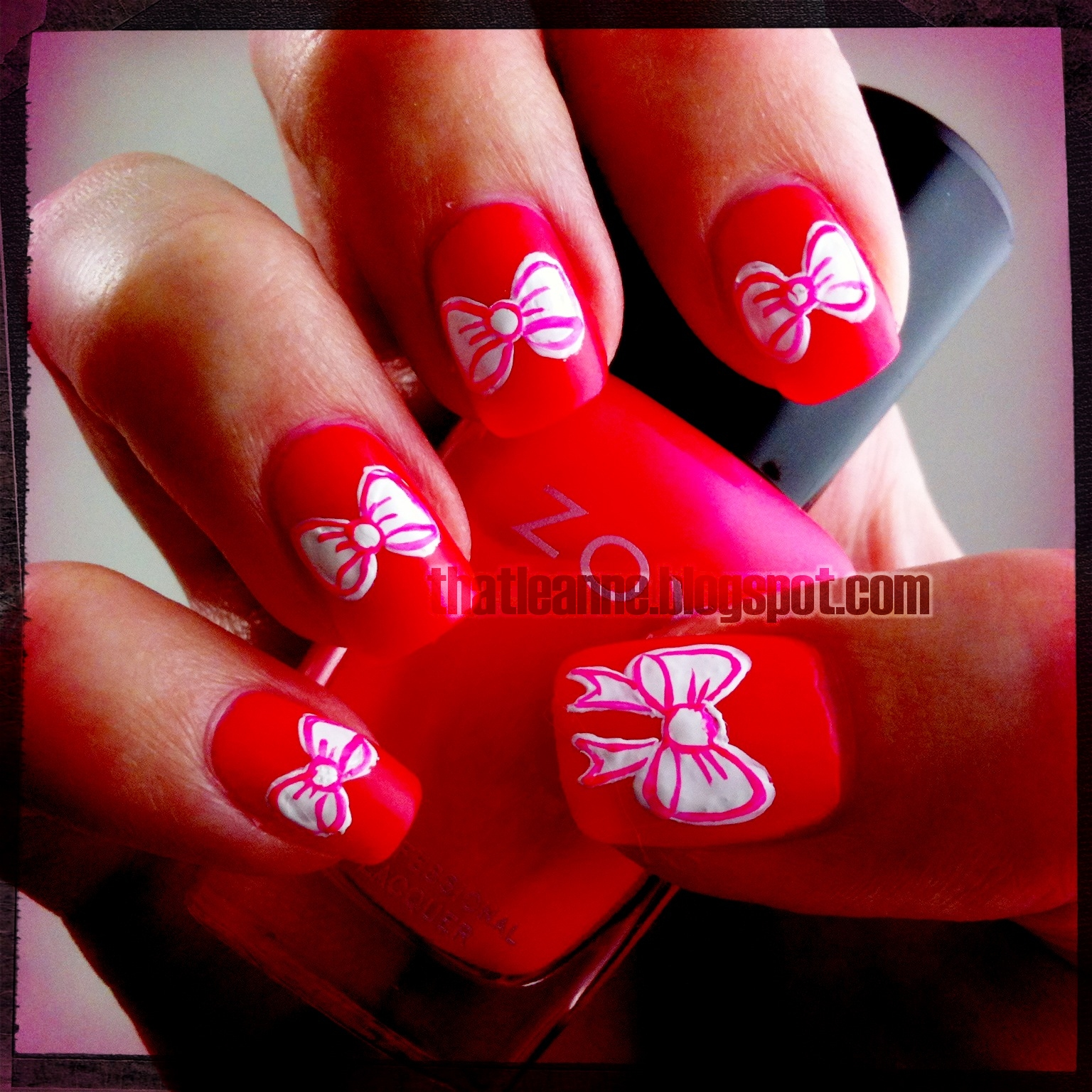 Thatleanne Chococat Nail Art: Thatleanne: Valentines Bow Nail Art How To