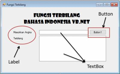 Fungsi Terbilang Bahasa Indonesia VB.Net, Form terbilang VB.Net