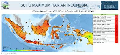 Cuaca panas yang melanda Indonesia tanggal 17-18 September 2017. Sumber  BMKG.