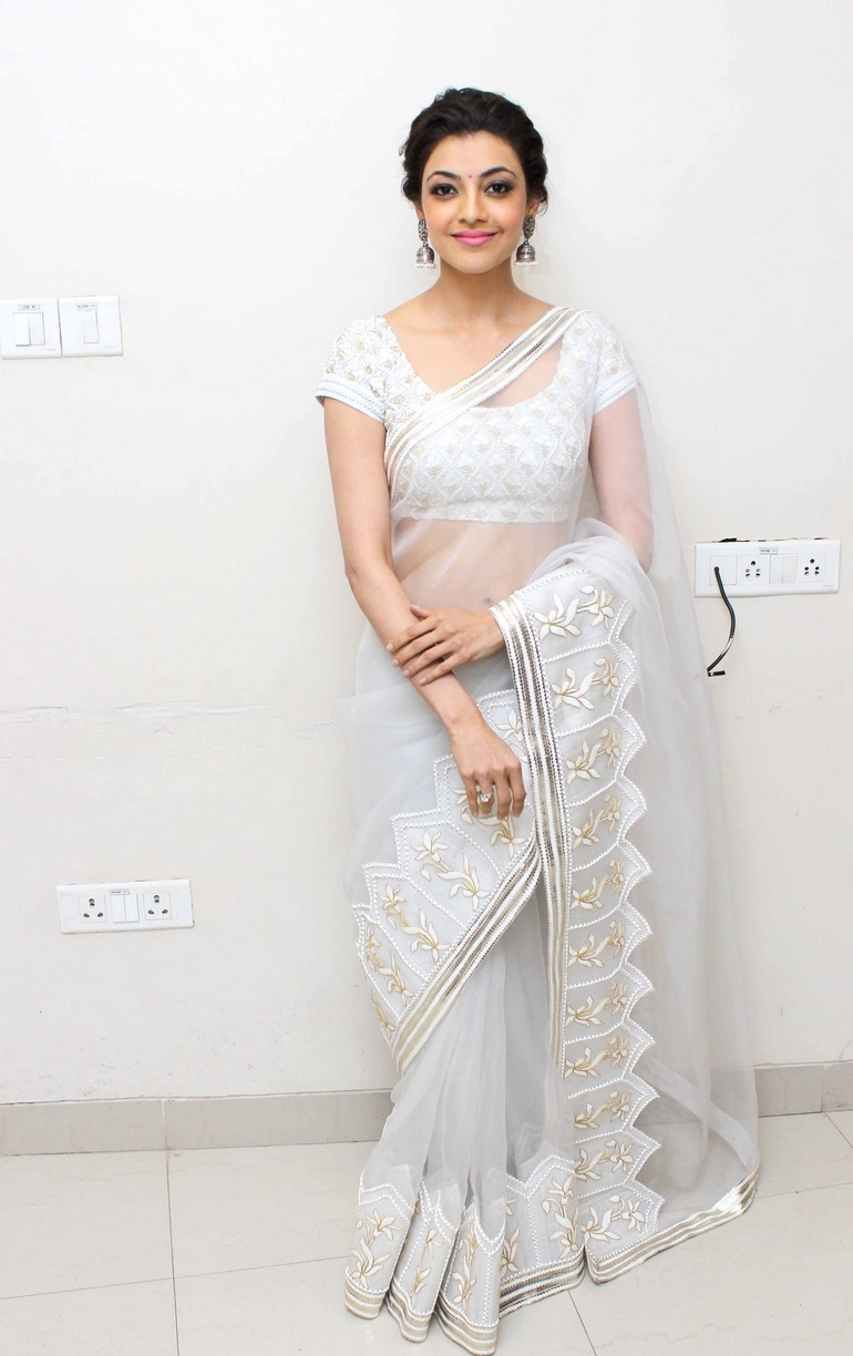 Kajal Agarwal Hot Stills In White Saree