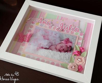 scrap scrapbook scrapbooking enfeite porta de maternidade menina delicado rosa bebê quarto