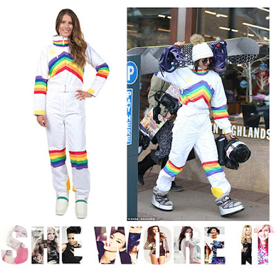 Ski Suit, White. Rainbow, Colourful, Aspen, Nina Dobrev, Perfect Moment, Net a porter, Jimmy Choo, Tipsy Elves, Winter, Ski