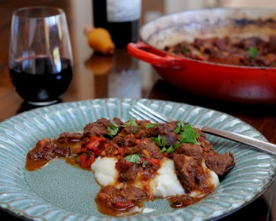 Spanish Stew with Roasted Pepper (Chilindron), a wine-enriched stew, dark and somehow mysterious with roasted red peppers. | Recipe found at Kitchen Parade.