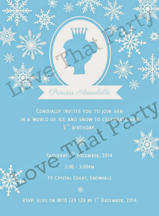 image of blue and white snow princess party invitation with snowfalkes and princess cameo silhouette with crown