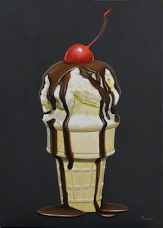 Small realist acrylic painting of vanilla ice cream cone with chocolate and a cherry