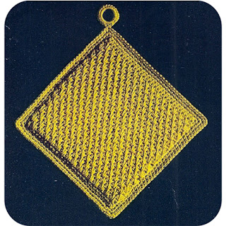 Free Crocheted Yellow Square Potholder pattern