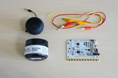 photo shows touch board, alligator clips, electric paint, and a small speaker.