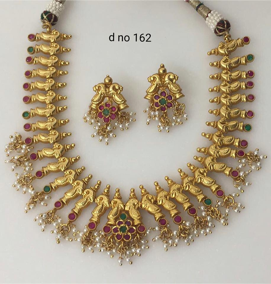 Brass Metal Gold Polish Necklaces Jewellery Designs