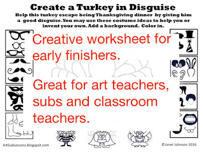 worksheet for early finishers to disguise a turkey
