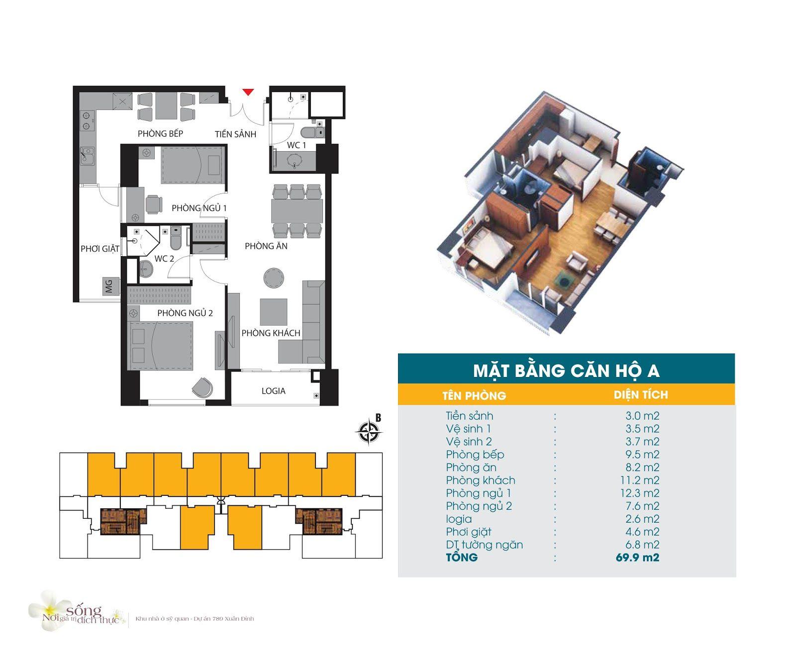 Căn hộ 69,9 m2
