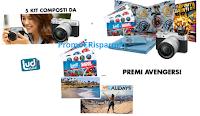 Logo The Avengers infinity war: vinci gratis kit Avangers, macchine fotografiche FujiFilm e 1 viaggio a Los angeles