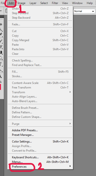 photoshop edit preferences