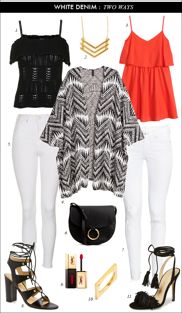 what to wear with white jeans, black and white poncho