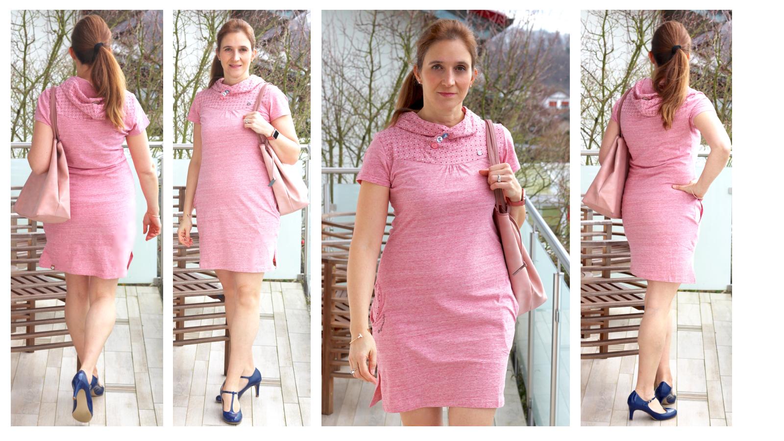 Yushkas Fashion Friday: Rosa Midi Kleid von Ragwear und blaue Lacksandaletten von Taupage
