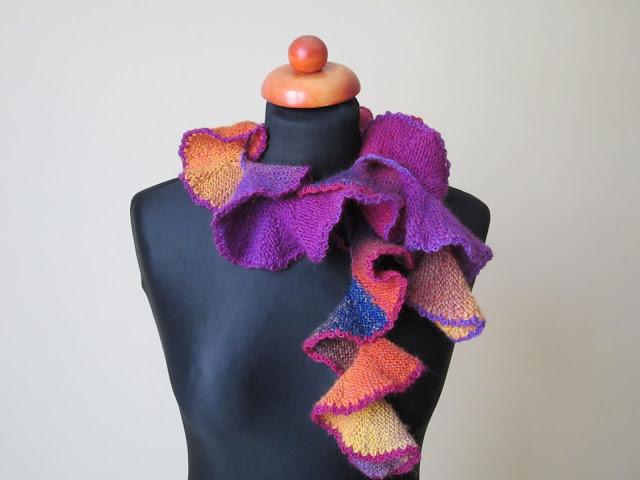 spiraliny szalik na drutach