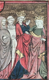 Adelaide (right) in a painting that depicts her renouncing by Baldwin of Jerusalem