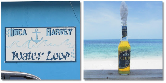 Left image: The 'Water Loop' sign with an anchor. Right: A sweaty bottle of Kalik Gold beer sits on a rail overlooking a turquoise beach on a sunny day.