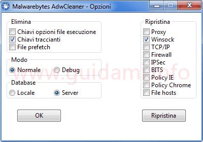 AdwCleaner 7 Opzioni ripristino