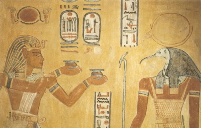 Ramses III. in front of god Thoth in tomb of Khaemwaset