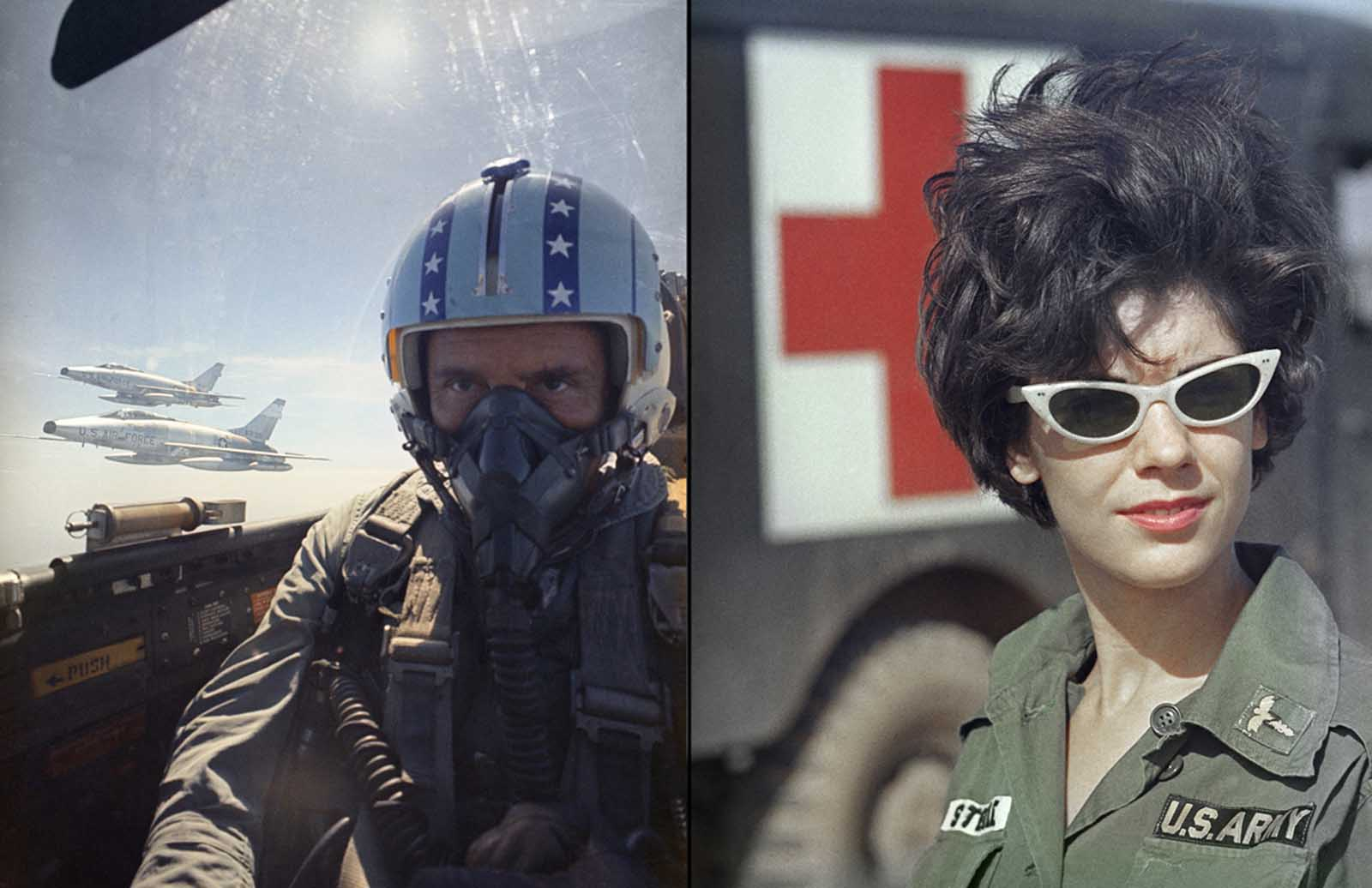 "Left: Pilot Leslie R. Leavoy in flight with other jets in the background above Vietnam in 1966. Right: Army nurse 2nd Lieutenant Roberta ""Bertie"" Steele in South Vietnam, on February 9, 1966."