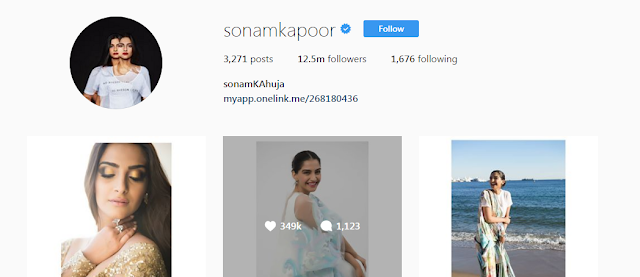 Sonam Kapoor Chang her Instagram name