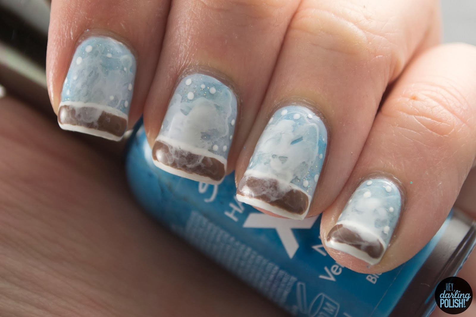 Coffee Art Nails Hey Darling Polish Nail Art A Go Go Day 21 Snow Day