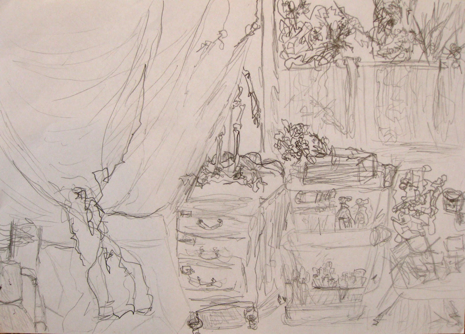 Jessica's expressive line drawing of the interior of the studio