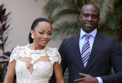 Friendly ex? Toke Makinwa and ex-hubby, Maje Ayida, caught having intimate affair (Photos)