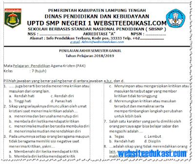 Soal PAS/ UAS PAK Kelas 7 SMP/MTs K13 Tahun 2018/2019