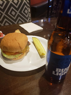 Burger and beer at Brightside Cafe in Plaza Hotel and Caisno Las Vegas