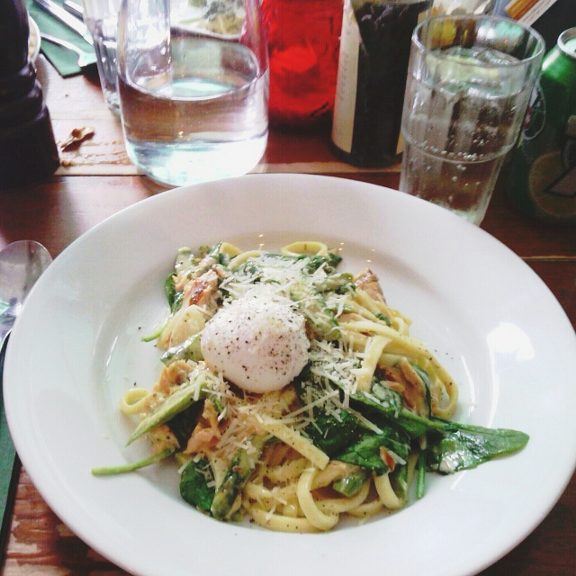 Smoked salmon, asparagus, spinach and a poached egg in a cream sauce at The Quarter