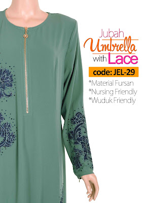 Jubah Umbrella Lace JEL-29 Sea Green Depan 8