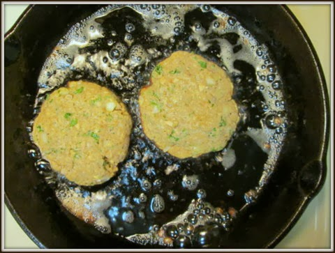 Salmon Patties cooking