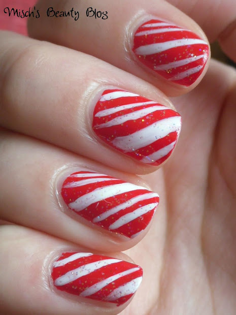 Misch' Beauty Notd December 15th Candy Cane Nail Art