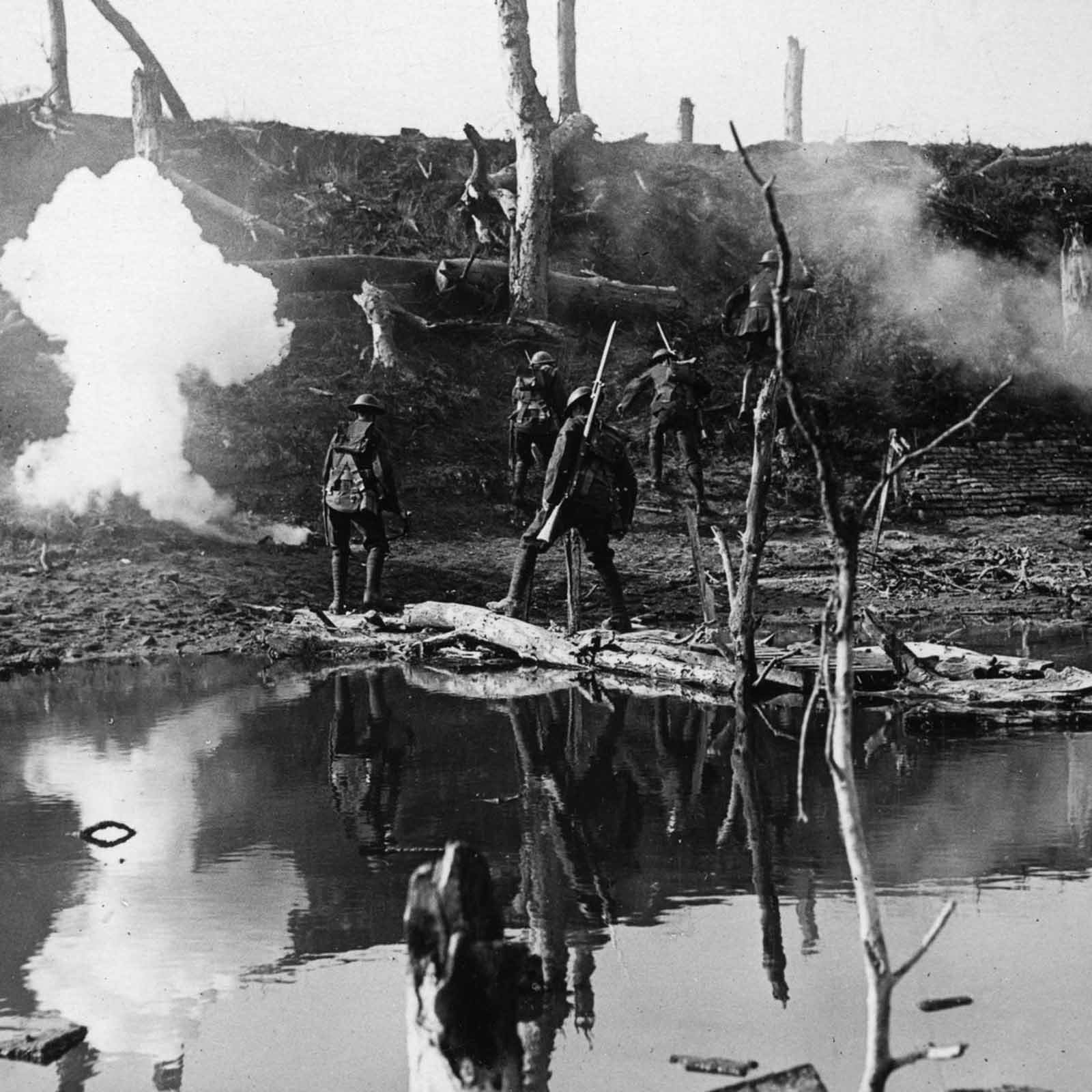 Soldiers cross the river Ancre during the Allied attack on Thiepval Ridge. September, 1916.