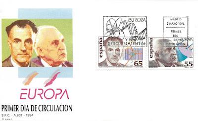 Sobre primer día de los sellos de Severo Ochoa y Miguel Catalán 1994