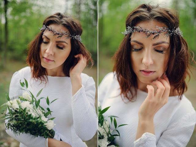 Biżuteryjny wianek ślubny - wrozsy