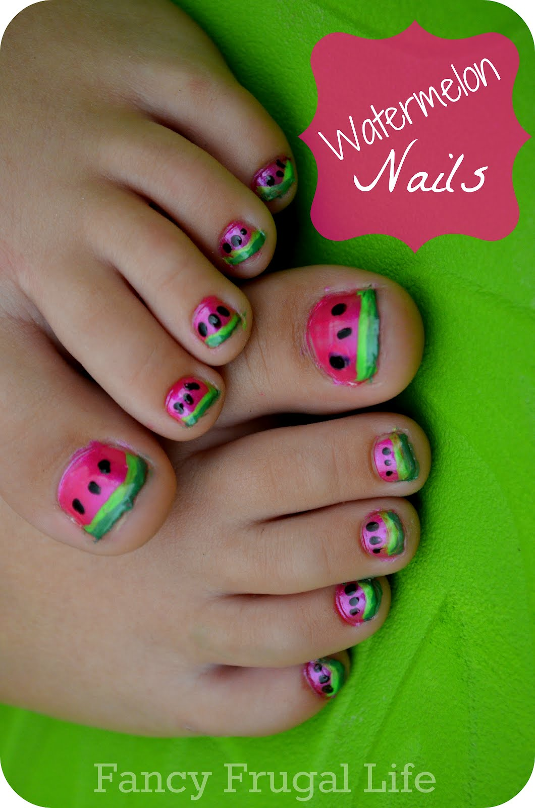 DIY Watermelon Nails (Mani/Pedi