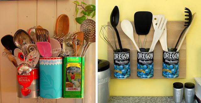 latas usadas como organizador na cozinha
