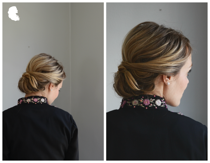 chignon with a braid in the front