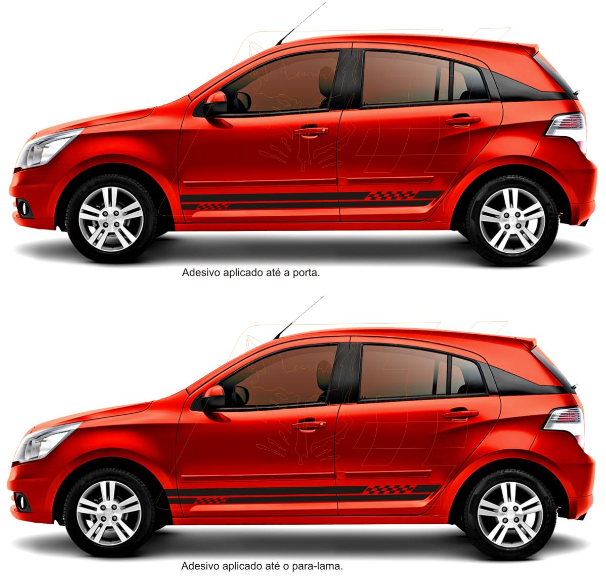 Adesivos esportivos Tuning para carros GM Agile LT LTZ e Cobalt aplicado  até a porta ( 1d24a006919c5