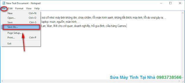Cách lưu file Notepad bằng tiếng Việt - H02