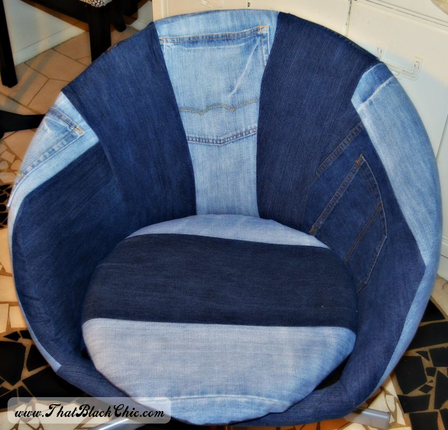 Black Leather Chair Ikea Ps4 Gaming Chairs Diy: Hack On The Skruvsta Swivel Chair, Done Denim Style | That Chic