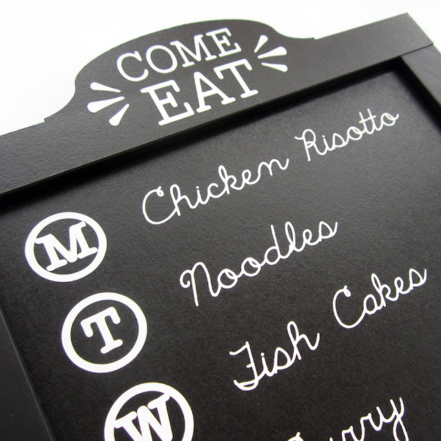 Family Menu Chalkboard by Janet Packer for Silhouette UK.  Make a custom menu board using chalkboard cardstock with a FREE header shape cut file..
