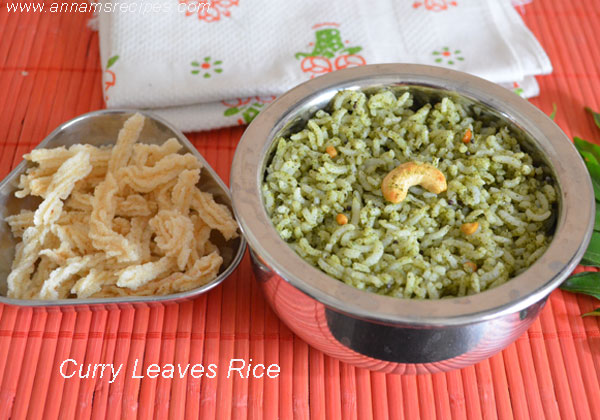 Karuveppilai Sadham / Curry Leaves Rice