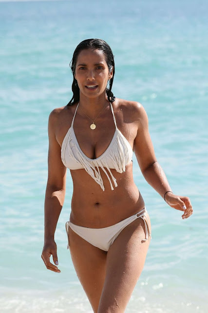 Padma Lakshmi in White Bikini on Miami Beach