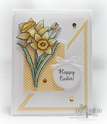 Our Daily Bread Designs Stamp Set: Daffodils, Custom Dies:  Daffodil, Pierced Circles, Pierced Rectangles, Circle Ornaments, Paper Collections: Plum Pizzazz